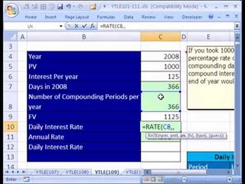 ytle 109 daily interest rate schedule in excel youtube