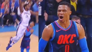 Russell Westbrook SHUTS UP JOEL EMBIID FOR DUNKING ON HIM AND STARING HIM DOWN! OKC Thunder vs 76ers
