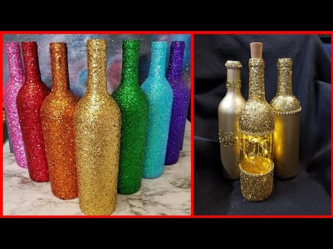 beautiful-bottle-craft-ideas-with-glitter-for-home-decor
