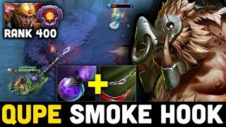 EPIC SMOKE HOOK!!! QUPE PUDGE vs Immortal Rank 400 -  When Master Pudge meet Master Tier LC  Dota 2
