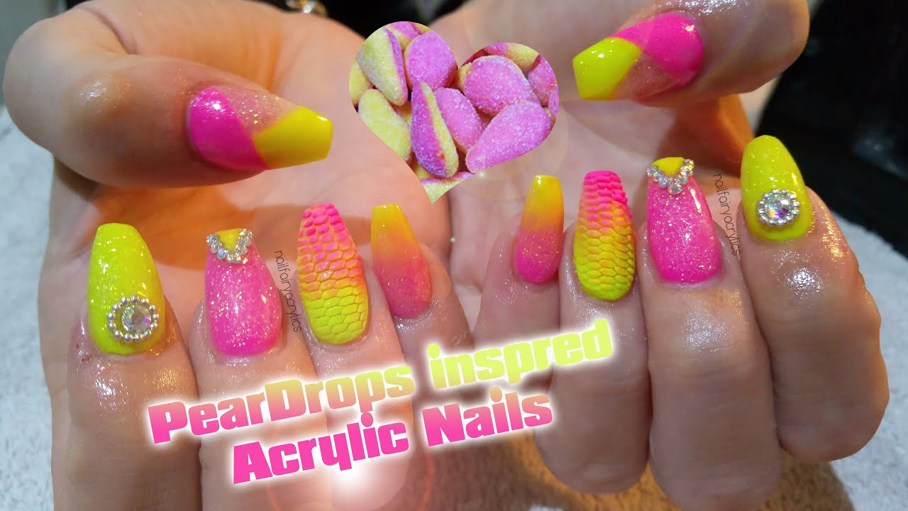 Peardrop inspired Acrylic Nails| Nail art | Neon nail designs - YouTube