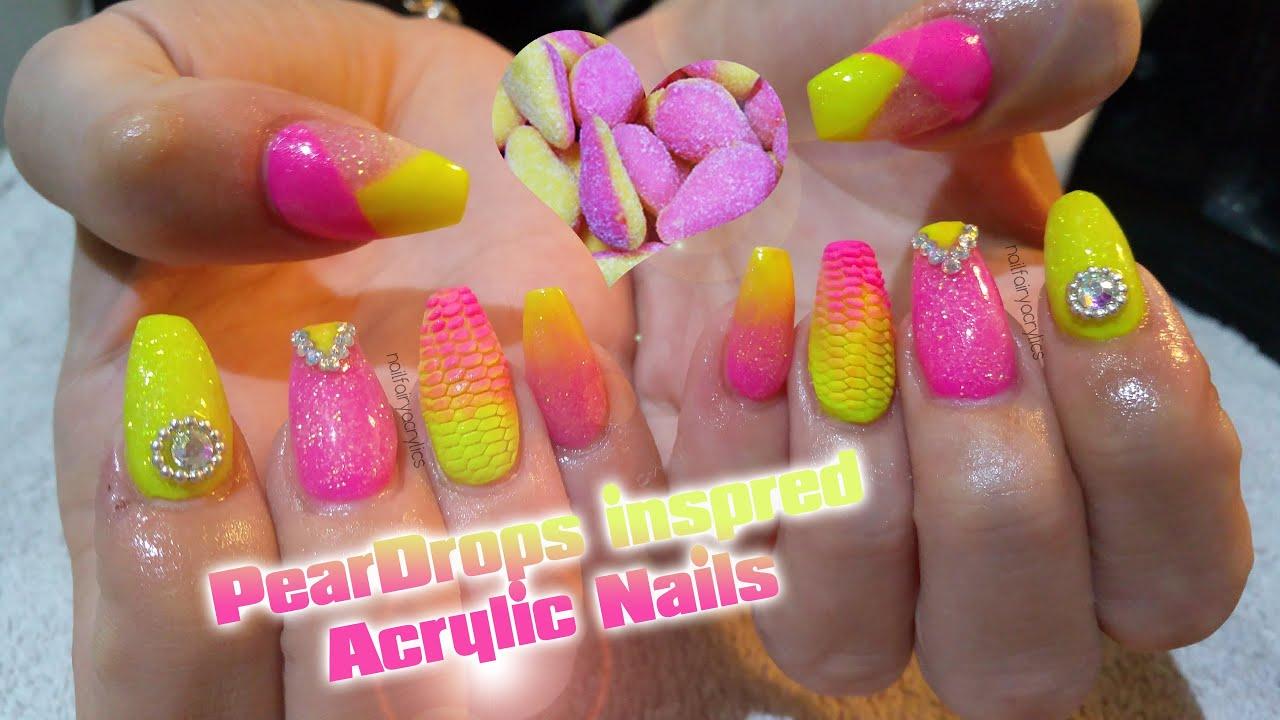 Peardrop inspired Acrylic Nails| Nail art | Neon nail ...