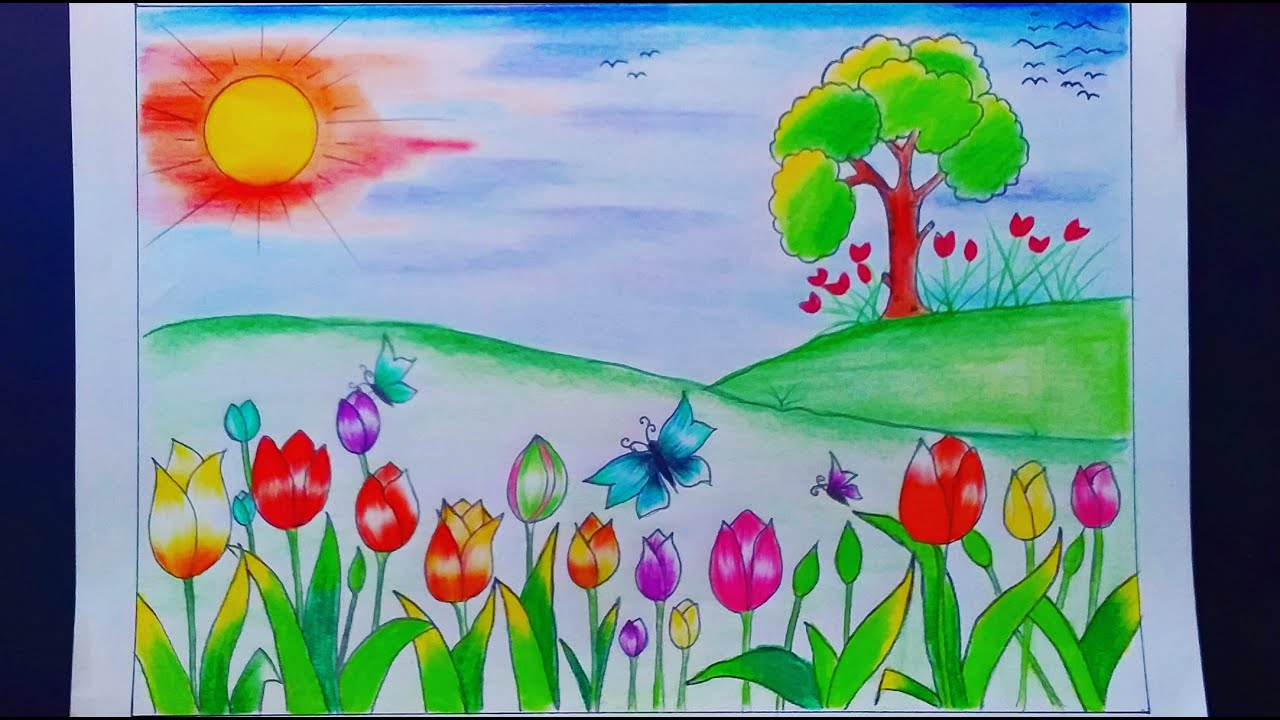 Tulip Field Landscape Drawing Step by Step/ How To Draw Tulip Flower Scenery (very easy) | Relaxing