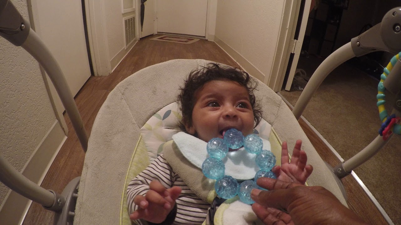 3 month old and already teething - YouTube