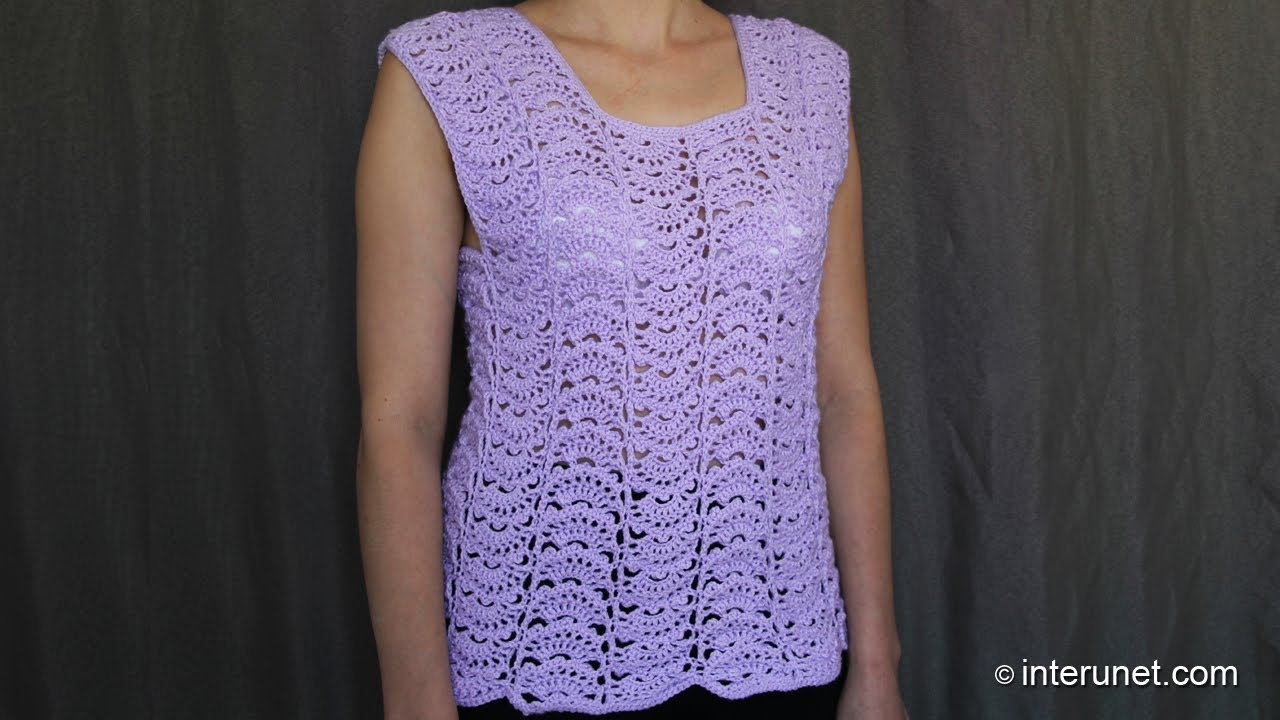 Free Crochet Pattern For Ladies Top : Japanese fan stitch womens top crochet pattern - crochet ...