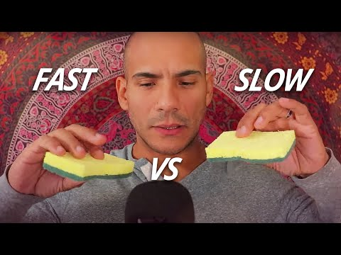 Fast VS Slow ASMR - Rapid & Gentle tapping, scratching, clicking, shaking, plucking & crinkling