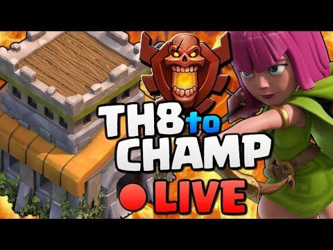 Clash of Clans - TH8 Trophy Push to Champ! CoC Attack Strategy and Gameplay LIVE!