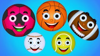 Learn Colros with Balloons Popping Sports Ball Finger Family Nursery Rhymes Songs For kids Children
