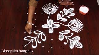 simple & easy rangoli design with 7x7 dots ll daily kolam design ll easy muggulu designs
