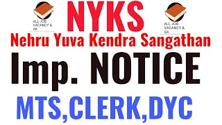 NYKS RECRUITMENT   Imp. Notice   NYKS Recruitment 2019   DYC/MTS/CLERK  