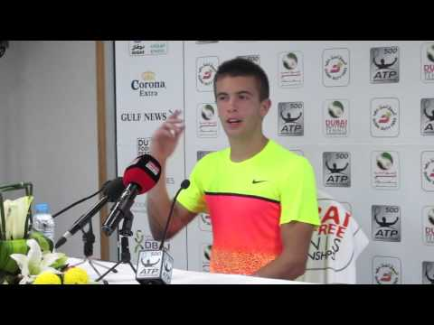 Borna Coric after beating Andy Murray. 26.02.2015