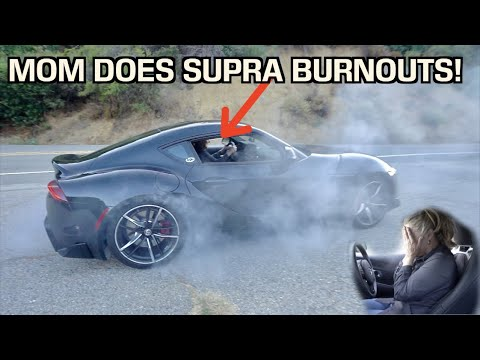 MY MOM DOES BURNOUTS IN MY NEW 2020 SUPRA!