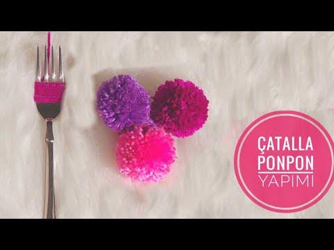 ÇATALLA PONPON YAPIMI ( EASY POMPON TRICK WITH FORK, SEWING HACK )