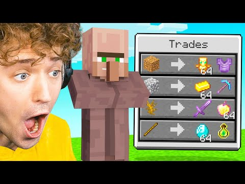 Minecraft, But VILLAGERS TRADE OP ITEMS!