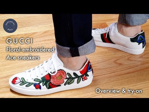 2942276c3cc Gucci Ace Floral-Embroidered Sneakers  Review   Try-on - YouTube