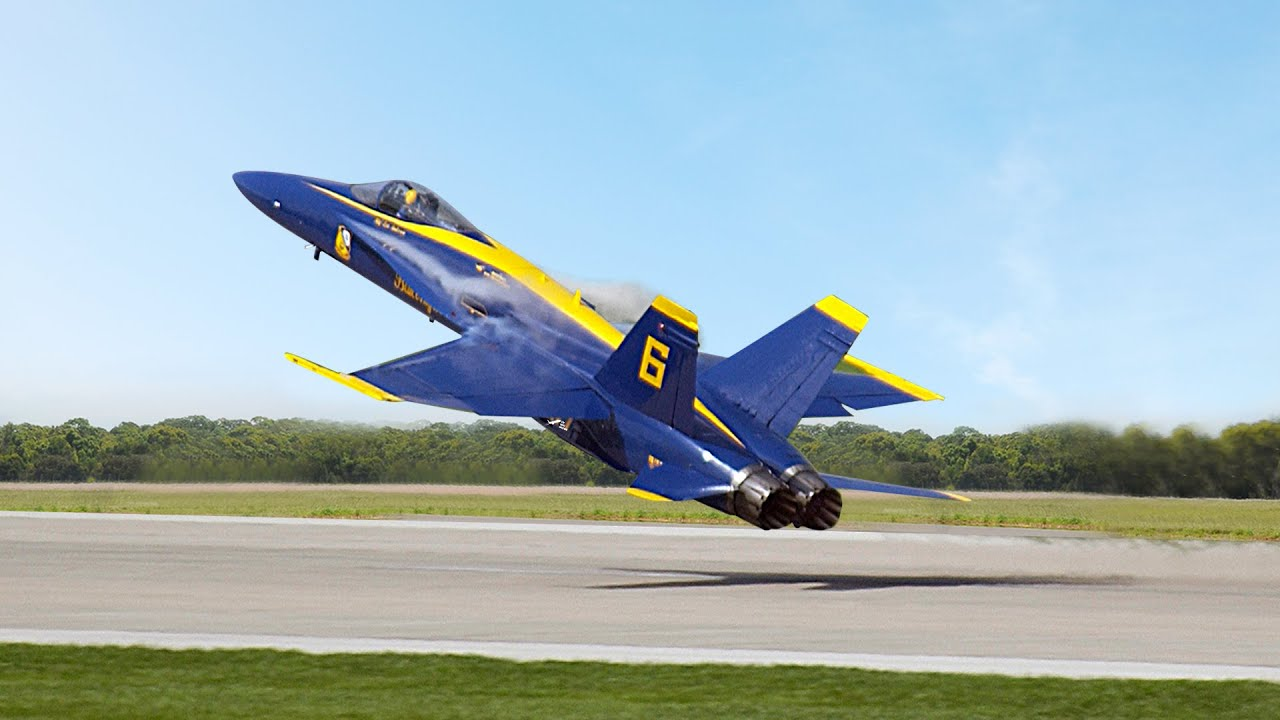 Insane Blue Angel F-18s Perform Extreme Low Pass