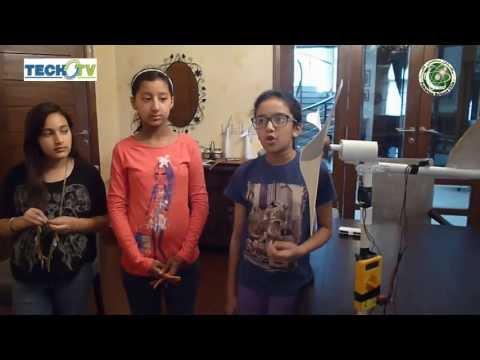 Grade 6th Girl Scientist's Science Project Windmill