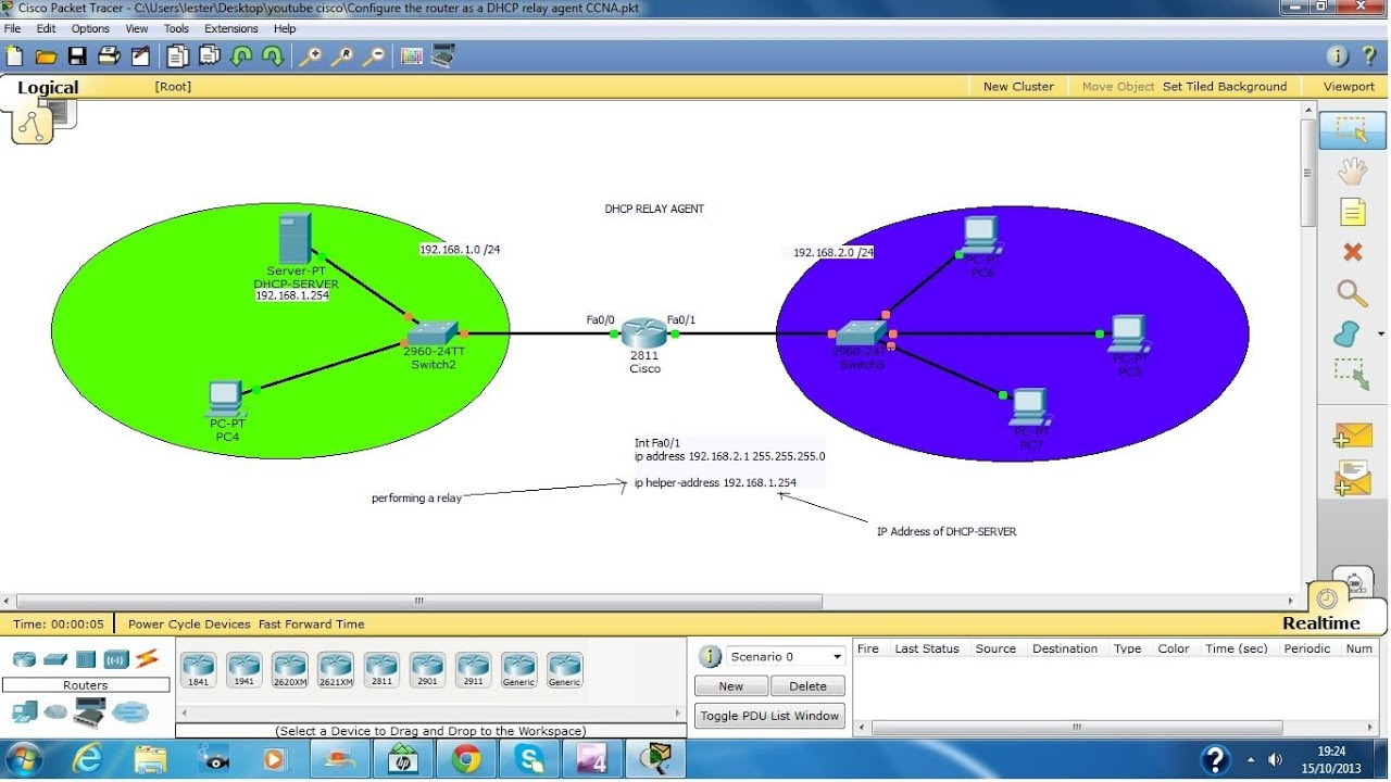 Configure router as a DHCP relay agent YouTube