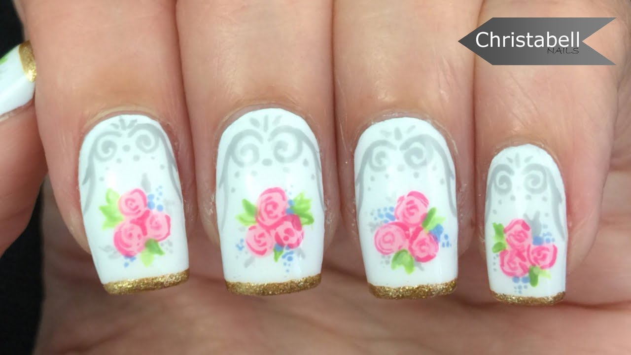 Floral Tea Cup Inspired Nail Art Youtube