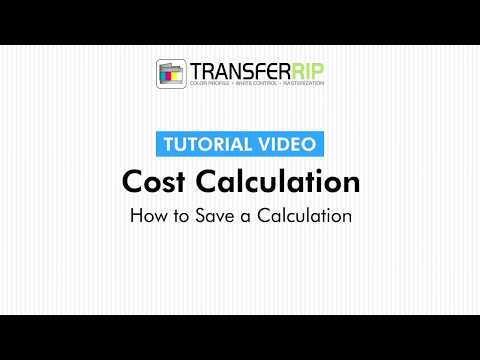 TransferRIP Part 4 - #7   How to Save a Calculation - Cost Calculation