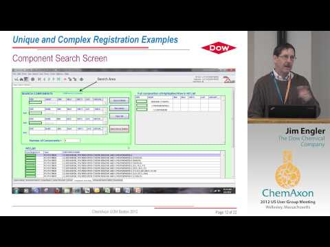 Jim Engler (The Dow Chemical Company): Chemical Structure Registration in a Diverse Chemical Company