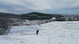 Snowboarding the slopes of Lough Mardal