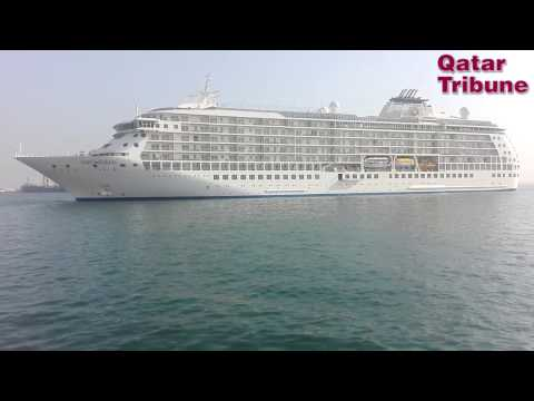 The World Cruise Ship Docks in Doha Port.