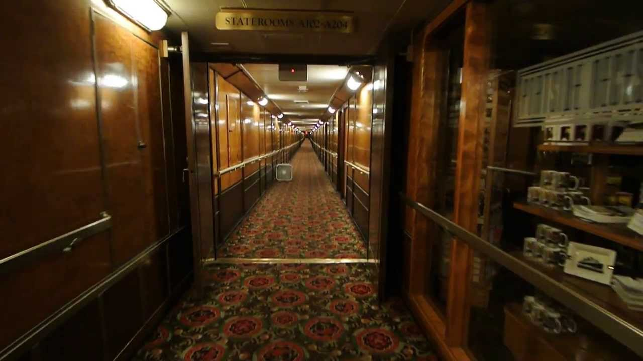 Rms Queen Mary Hotel A And B Deck Corridor Walk Long Beach Youtube