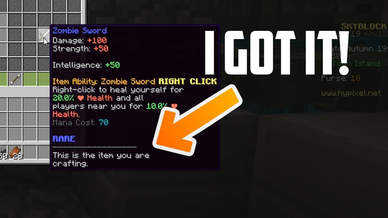 FIRST PLAYER TO GET THE OP ZOMBIE SWORD IN HYPIXEL SKYBLOCK