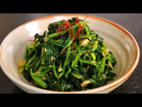 Spinach side dish (Sigeumchi-namul: 시금치나물)