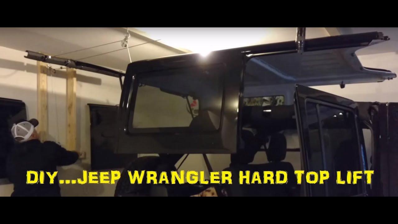 Diy jeep wrangler hardtop garage lift hoist youtube for Garage jeep poitiers