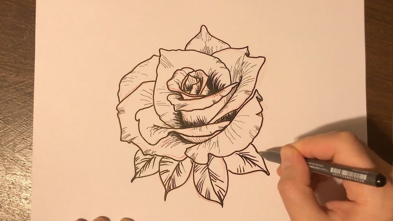 How To Draw A Rose Tattoo Design Youtube