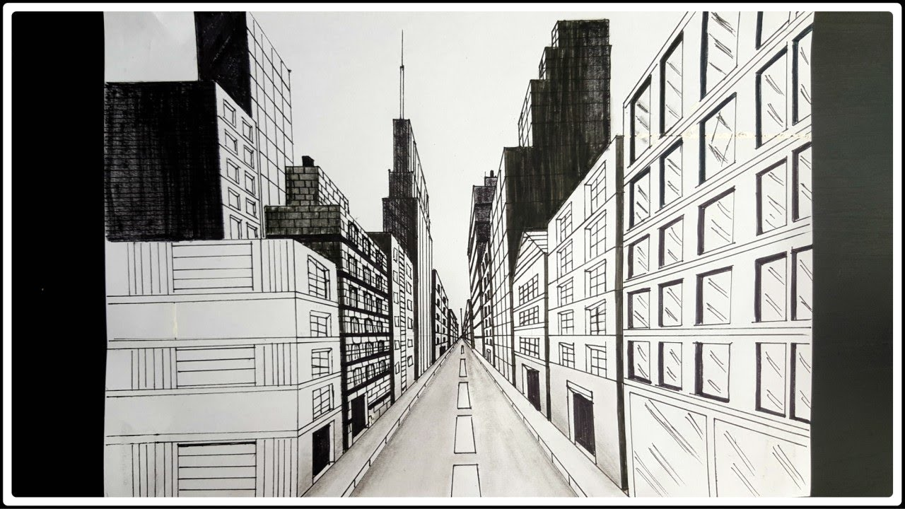 How to draw a panoramic city skyline or cityscape with ... |City Building Sketches