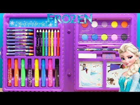 Juguetes de FROZEN para Dibujar Pintar y Colorear para niños | Utiles Escolares de Frozen Elsa Anna