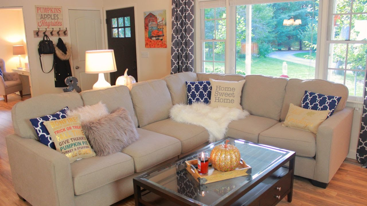 how to decorate living room custom furniture decorating my for fall tour youtube