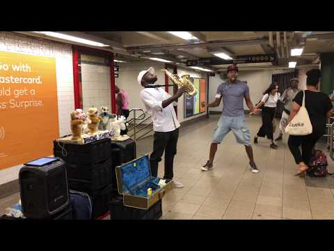 Talented Sax Player with Dancing Cats inside 14th Street - Union Square Subway Station