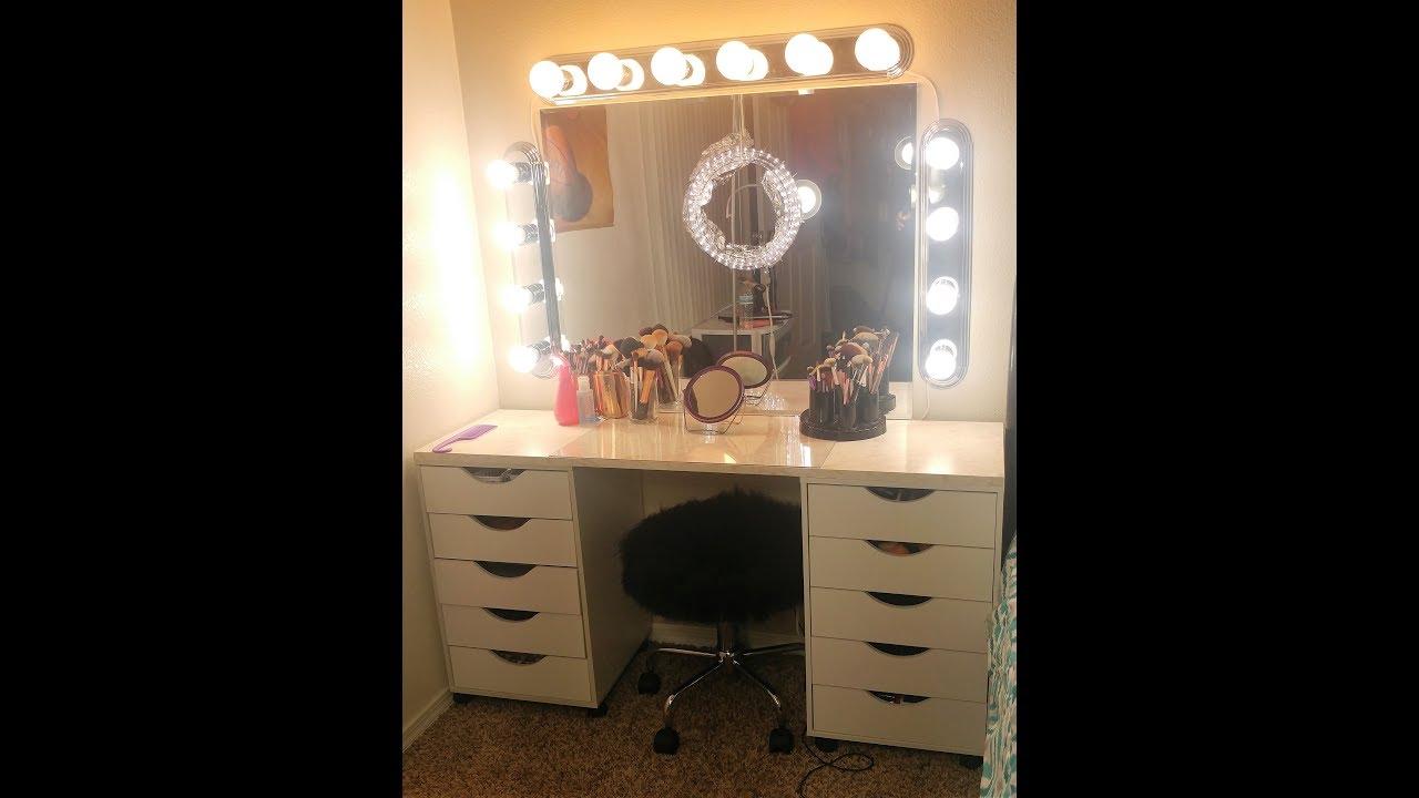 DIY FULL Makeup Vanity with Mirror & Lights (Under $200 ...