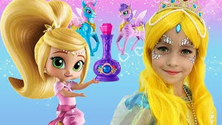 Sofia plays with Shimmer and Shine Dolls & dresses up as a Princess for the Party