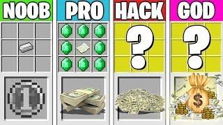 Minecraft Battle: MONEY CRAFTING CHALLENGE! NOOB vs PRO vs HACKER vs GOD in Minecraft Animation