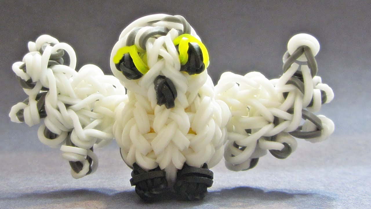 rainbow loom charms snowy owl 3d made with loom bands. Black Bedroom Furniture Sets. Home Design Ideas