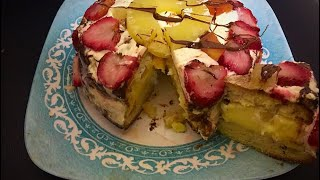 Custard Layer Cake with mix Fruit Recipe by RJ kitchen