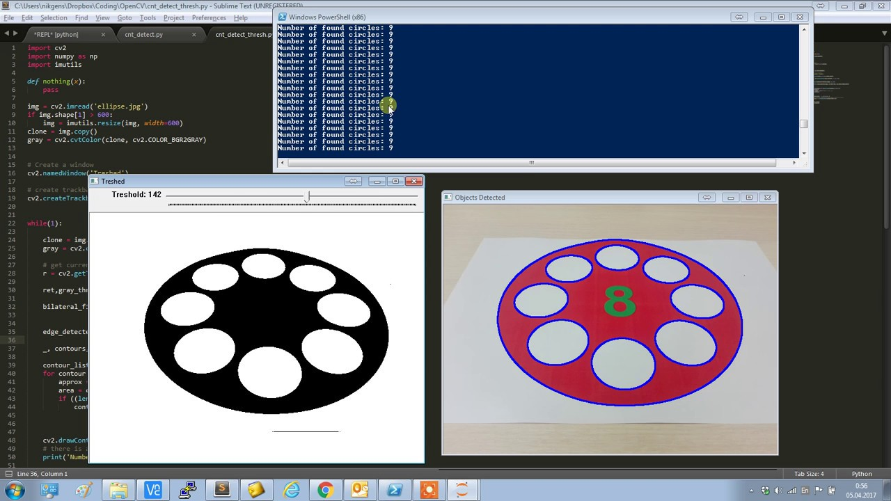OpenCV circles detection with threshold, edges and contours in Python