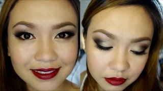 Dark Eyes and Dark Red Lips Tutorial! | TAGALOG