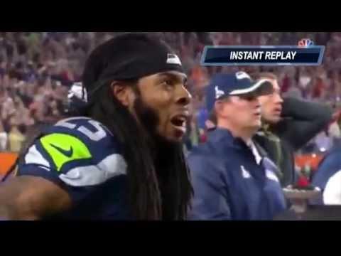 Richard Sherman Reaction - Patriots vs Seahawks 2/1/2015 Super Bowl XLIX