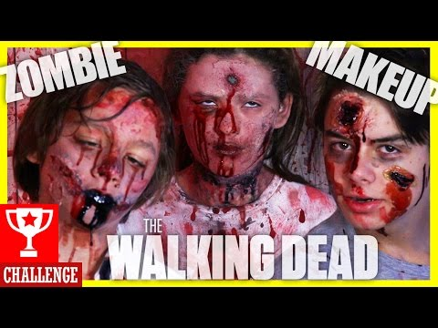 WALKING DEAD ZOMBIE FACE PAINT CHALLENGE!  SFX COSTUME MAKEUP 4 HALLOWEEN OR COSPLAY!    KITTIESMAMA