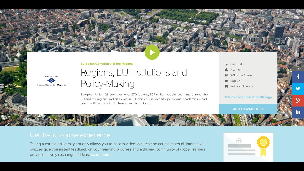 MOOC Committee of the Regions - Case Study