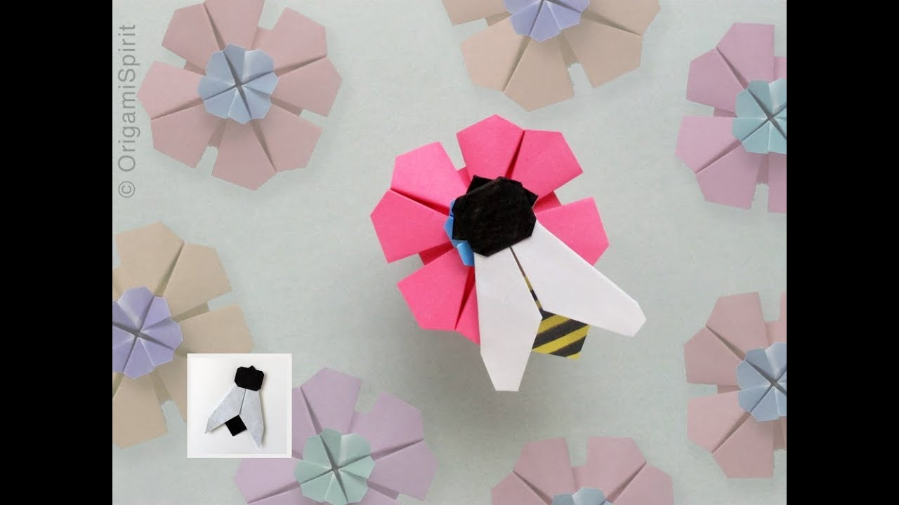 Easy Origami Fly Bee Mosca Abeja Youtube 3d Swan Diagram Http Howtoorigamicom Origamiswanhtml