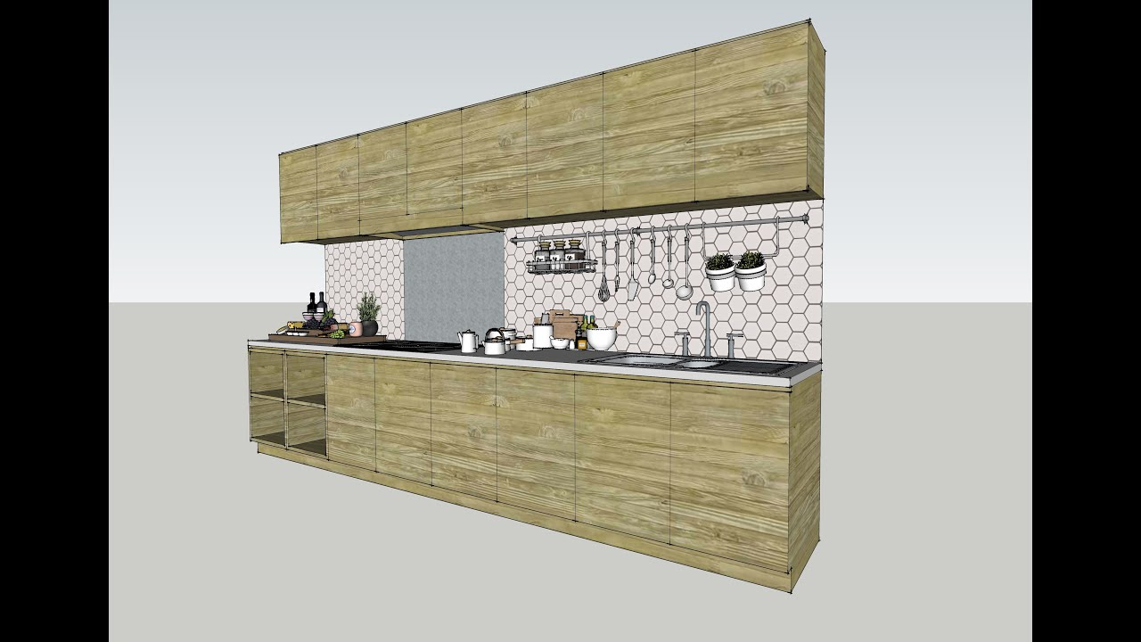 SketchUp Modeling - Kitchen Cabinet - YouTube