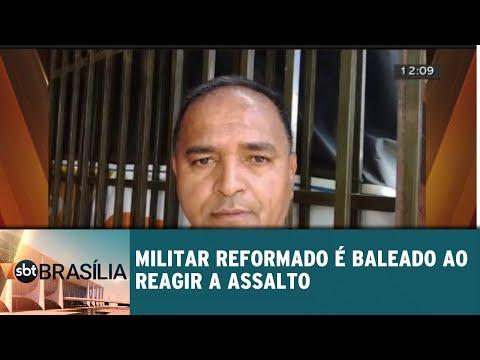 Militar reformado é baleado ao reagir a assalto   SBT Brasília 27/08/2018