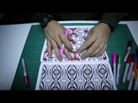 Colouring in with Sharpie pens, ASMR, no talking